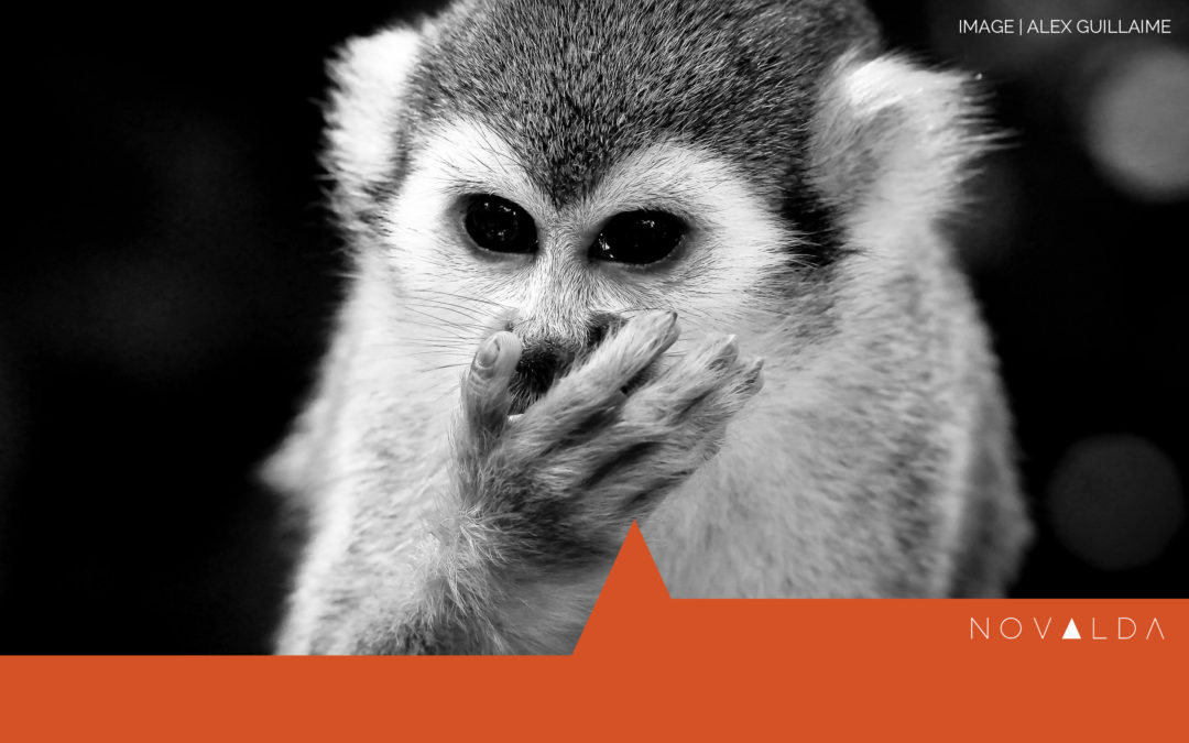 Monkey with hand over his mouth represents response to failure.